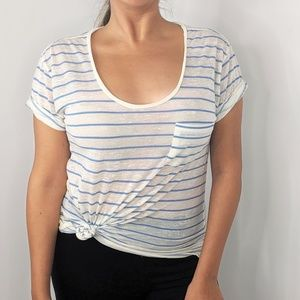 RAG & BONE KNIT White Striped Short Sleeve T-Shirt